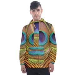 Peacock Feather Bird Colorful Men s Front Pocket Pullover Windbreaker by Pakrebo