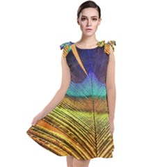 Peacock Feather Bird Colorful Tie Up Tunic Dress by Pakrebo