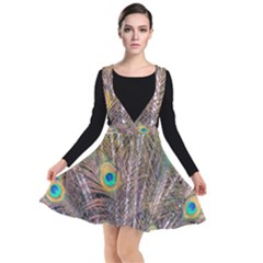Pen Peacock Wheel Plumage Colorful Plunge Pinafore Dress by Pakrebo
