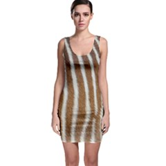 Skin Zebra Striped White Brown Bodycon Dress