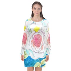 Favorite Rose Watercolor   Long Sleeve Chiffon Shift Dress  by okhismakingart