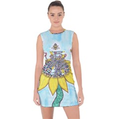 Bees At Work In Blue  Lace Up Front Bodycon Dress by okhismakingart
