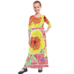 Reid Hall Rose Watercolor Kids  Quarter Sleeve Maxi Dress by okhismakingart