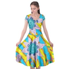 Tie Dye Flower And Butterflies Cap Sleeve Wrap Front Dress by okhismakingart