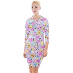 Candy Hearts (sweet Hearts Inspired) Quarter Sleeve Hood Bodycon Dress by okhismakingart