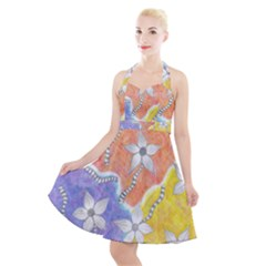 Tricolor Garden  Halter Party Swing Dress  by okhismakingart
