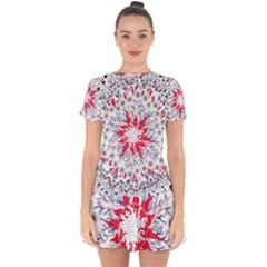 Flaming Sun Abstract Drop Hem Mini Chiffon Dress by okhismakingart