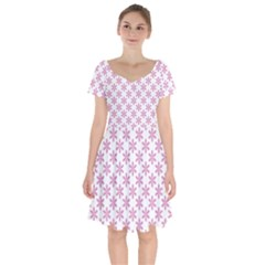 Fancy Floral Pattern Short Sleeve Bardot Dress
