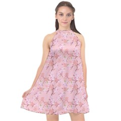 Fancy Floral Pattern Halter Neckline Chiffon Dress