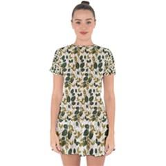 Fancy Floral Pattern Drop Hem Mini Chiffon Dress