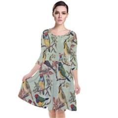 Vintage Birds Quarter Sleeve Waist Band Dress by Valentinaart