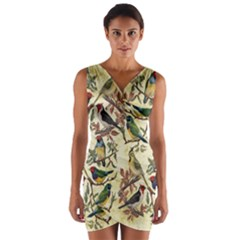 Vintage Birds Wrap Front Bodycon Dress by Valentinaart