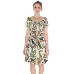 Vintage Birds Short Sleeve Bardot Dress