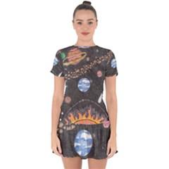 Space Drop Hem Mini Chiffon Dress by okhismakingart