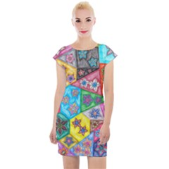 Stained Glass Flowers  Cap Sleeve Bodycon Dress by okhismakingart