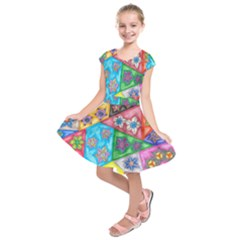 Stained Glass Flowers  Kids  Short Sleeve Dress by okhismakingart