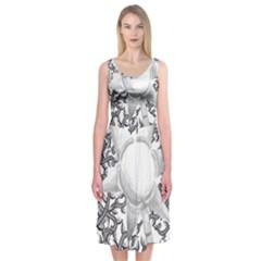 Geometric Flower And Vines 01 Midi Sleeveless Dress by okhismakingart