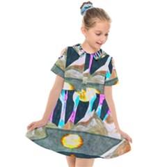 Angel s City Scanned Version Kids  Short Sleeve Shirt Dress by okhismakingart