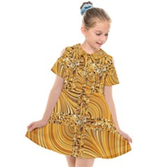 Electric Field Art Viii Kids  Short Sleeve Shirt Dress by okhismakingart