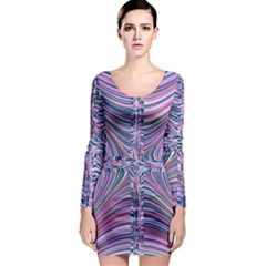 Electric Field Art Ix Long Sleeve Bodycon Dress by okhismakingart