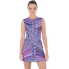 Electric Field Art Ix Lace Up Front Bodycon Dress by okhismakingart