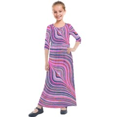 Electric Field Art Xxx Kids  Quarter Sleeve Maxi Dress by okhismakingart