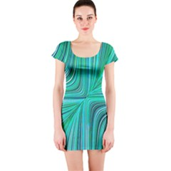 Electric Field Art Xxxi Short Sleeve Bodycon Dress by okhismakingart