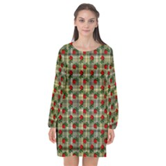 Roses Yellow Plaid Long Sleeve Chiffon Shift Dress  by snowwhitegirl