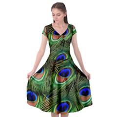 Peacock Feathers Cap Sleeve Wrap Front Dress by snowwhitegirl