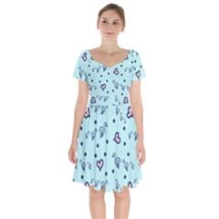 Duck Family Blue Pink Hearts Pattern Short Sleeve Bardot Dress by snowwhitegirl