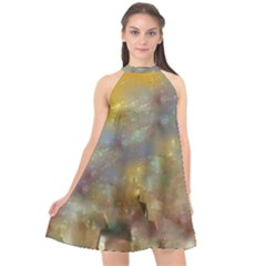 Abstract: Candle And Nail Polish Halter Neckline Chiffon Dress