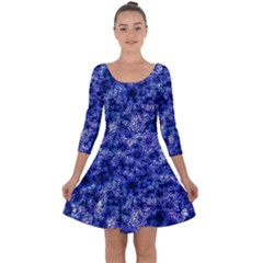 Queen Annes Lace In Blue Quarter Sleeve Skater Dress by okhismakingart