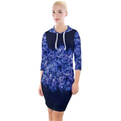 Queen Annes Lace In Blue Quarter Sleeve Hood Bodycon Dress by okhismakingart