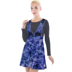 Queen Annes Lace In Blue Plunge Pinafore Velour Dress by okhismakingart