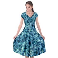 Queen Annes Lace In Neon Blue Cap Sleeve Wrap Front Dress by okhismakingart