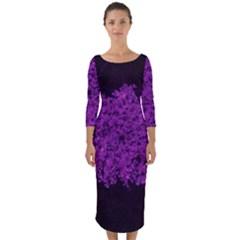 Queen Annes Lace In Purple Quarter Sleeve Midi Bodycon Dress by okhismakingart