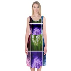 Closing Queen Annes Lace Collage (horizontal) Midi Sleeveless Dress by okhismakingart
