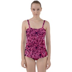 Queen Annes Lace In Red Part Ii Twist Front Tankini Set by okhismakingart