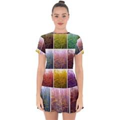 Goldenrod Collage Drop Hem Mini Chiffon Dress