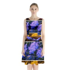 Primary Color Queen Anne s Lace Sleeveless Waist Tie Chiffon Dress by okhismakingart