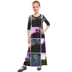 Sunflower Collage Kids  Quarter Sleeve Maxi Dress by okhismakingart