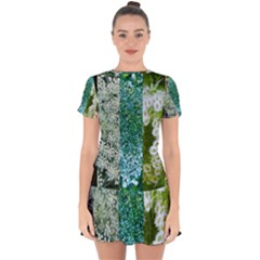 Queen Annes Lace Vertical Slice Collage Drop Hem Mini Chiffon Dress
