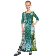 Queen Annes Lace Vertical Slice Collage Kids  Quarter Sleeve Maxi Dress by okhismakingart