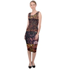 Queen Annes Lace Horizontal Slice Collage Sleeveless Pencil Dress by okhismakingart