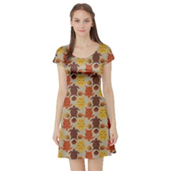 Sea Turtle Sea Life Pattern Short Sleeve Skater Dress