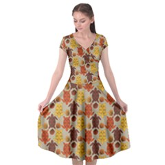 Sea Turtle Sea Life Pattern Cap Sleeve Wrap Front Dress