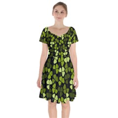 Green Leaves Meadow Shamrock Pattern Short Sleeve Bardot Dress