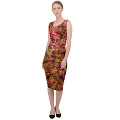 Red And Yellow Ivy Sleeveless Pencil Dress by okhismakingart