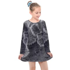 Tree Fungus Black And White Kids  Long Sleeve Dress by okhismakingart