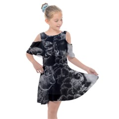 Tree Fungus Branch Vertical High Contrast Kids  Shoulder Cutout Chiffon Dress by okhismakingart